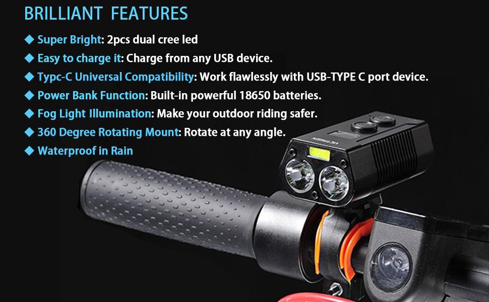 Rechargeable Bike Headlight Waterproof LED Front & Rear Light, Easy to Mount
