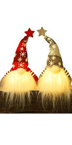 7.5Inch Lighted Christmas Plush Gnome, 2 Set
