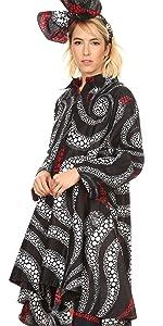 long sleeve pockets scarf  v neck cross front long maxi flared african ankara print color casual
