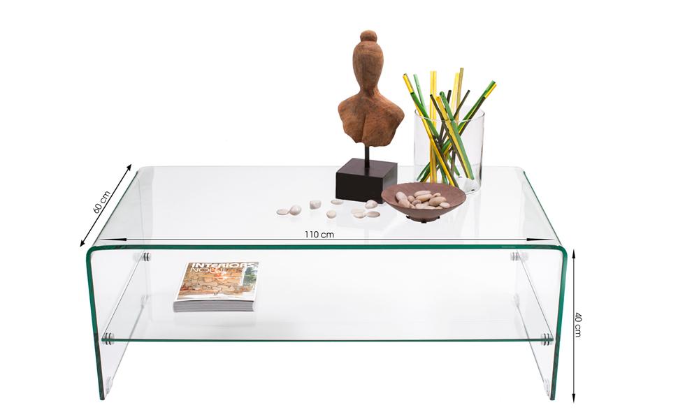 Homely - Mesa de Centro de Cristal Curvado y Templado de una Pieza ...