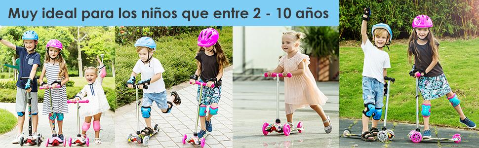 Patinete 3 Ruedas Profun Patinete Niño Scooter con 3 Ruedas Flash Patinete Niña con Luces Altura de Manillar Ajustable de 54CM a 69CM Ideal para Niños ...