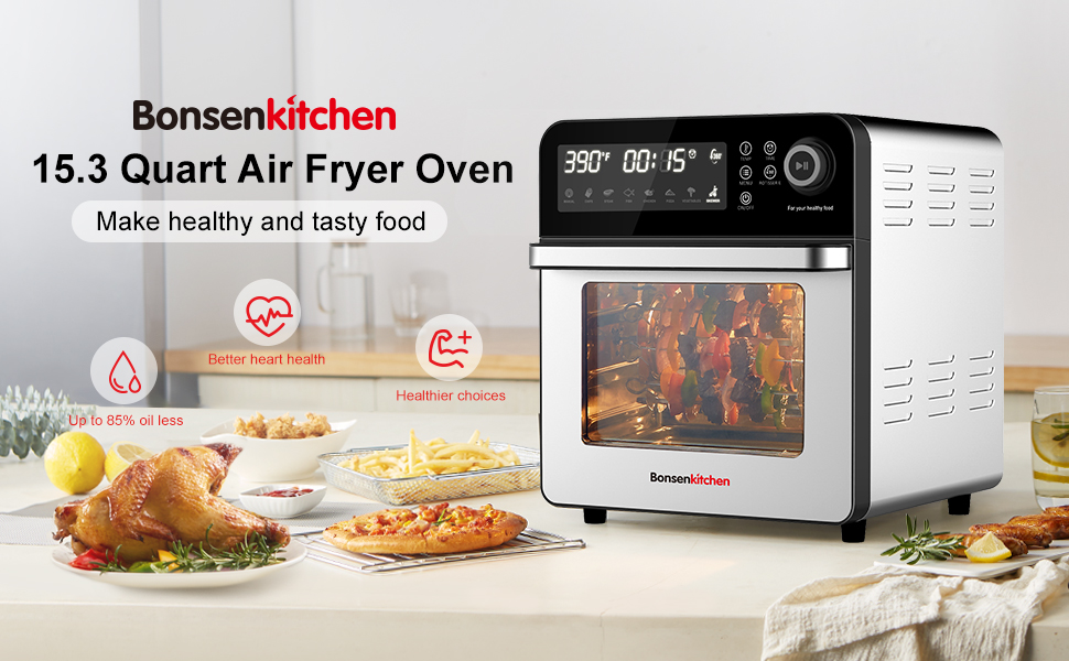 Bonsenkitchen Air Fryer Oven 3 Layers 8-in-1 with LED Digital Screen and Knob Roaster Oven Fry Bake 15.3QT Large Capacity Stainless Steel Airfryer Rotisserie Oven 50 Recipes /& 7 Accessories Dehydrate Roast