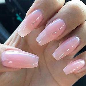 Pink French V-Shape Long Coffin Press On Nails Fake False
