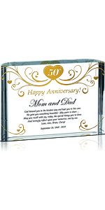Crystal Central Personalized Religious Golden 50th Wedding Plaque for Parents