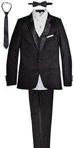 slim tuxedo, boys, skinny, suit, black, formal, wedding, party, unisex, girls
