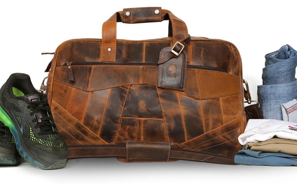 Unisex Retro Leather Patchwork Travel Duffel Bag Weekend luggage Bag