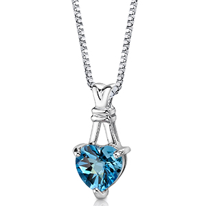 Swiss Blue Topaz Solitaire Pendant Necklace Sterling Silver 3.00 Carats