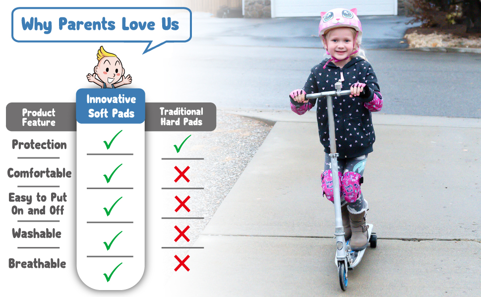 Innovative Soft Kids Knee and Elbow Pads with Bike Gloves | Toddler Protective Gear Set w/Mesh Bag& Sticker | CSPC Certified& Comfort | ...