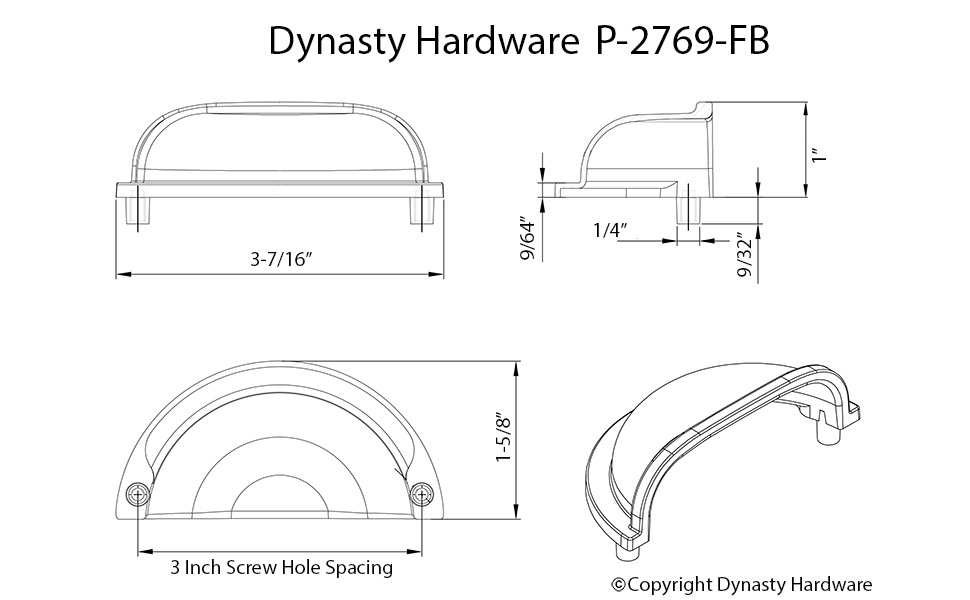 Bin Style Cabinet Pull Flat Black, Dynasty Hardware