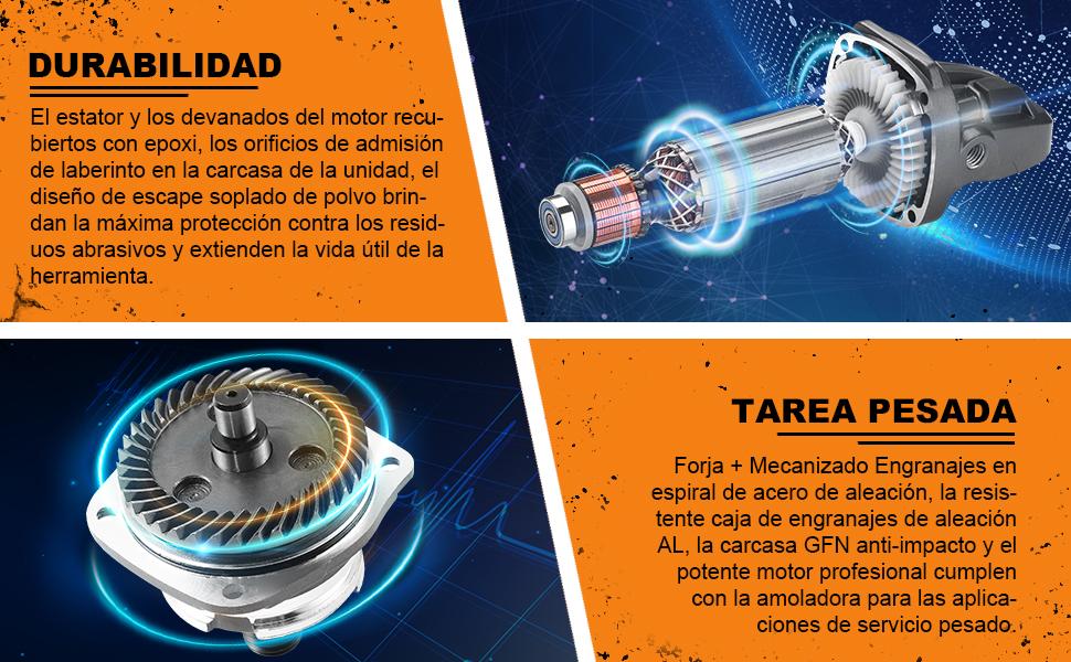 Amoladora Angular 1300W, TACKLIFE 125 mm, y 12000 RPM Herramienta ...