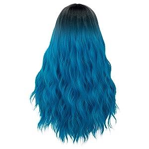 Long blue wig