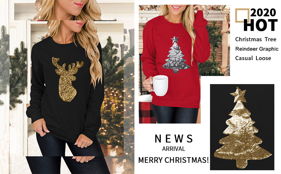 Merry Christmas Sweatshirt for Women Drop Shoulder Long Sleeve Christmas Tree Pullover  Shirt
