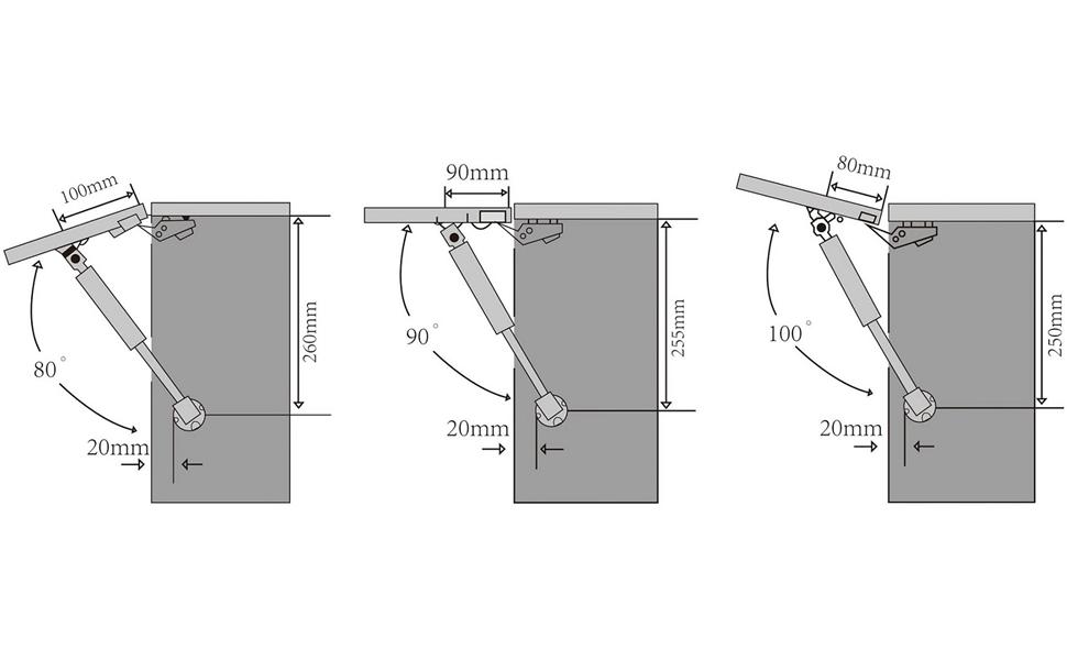 Derblue 4 Pcs 100N//22.5lb GAS Strut Lift Soutien Cabinet Porte Ascenseur pneumatique