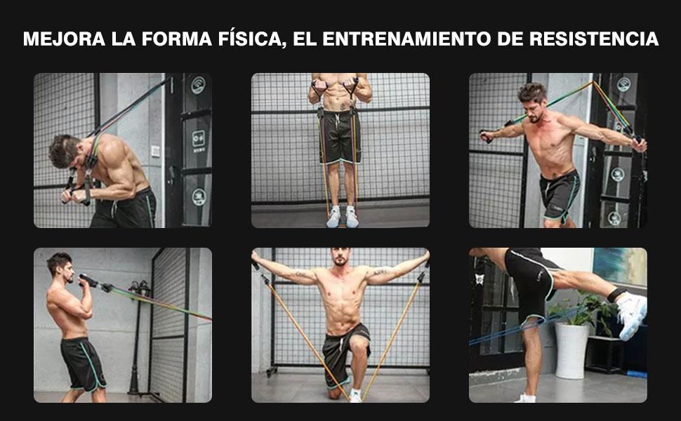 Hiveseen Bandas Elásticas Fitness 150LBS, Set Bandas de Resistencia 11 PCS, 5 Tubos de Látex con Ancla de Puerta y Manijas, Entrenamiento de ...