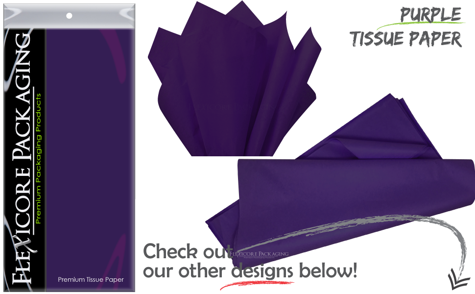 Flexicore Packaging Purple Gift Wrap Tissue Paper Count: 20 Sheets Color: Solid Purple /& Pin Stripe Size: 15 Inch X 20 Inch