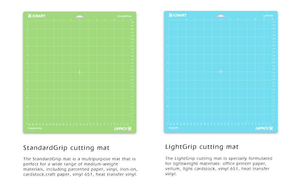 Xinart Cutting Mat for Cricut Maker//Explore Air 2//Air//One Multiple Adhesive Sticky Green Quilting Cricket Cutting Mats for Cricut 12x12 Inch, 3 Mats, StandardGrip, LightGrip, StrongGrip