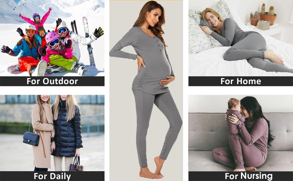 Ekouaer Womens Button Down Nursing Thermal Underwear Maternity Pajamas Microfiber Fleece Lined Winter Pjs Set Long John Set