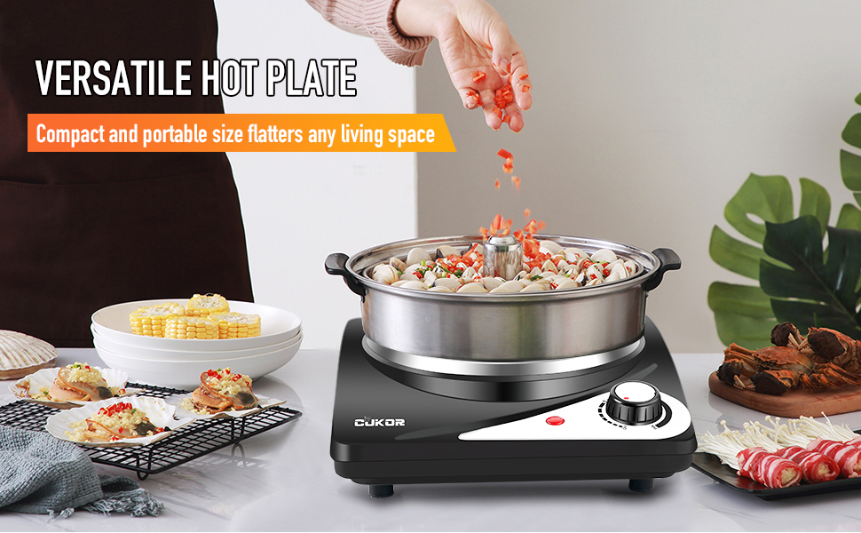 CUKOR Electric Hot Plate for Cooking,Portable Single Burner 1500W,Cast-Iron hot plate,Stainless Steel Non-Slip Rubber Feet