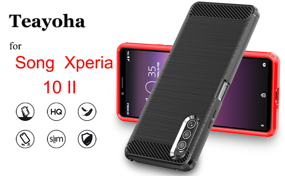 Song Xperia 10 II case with tempered glass screen protector