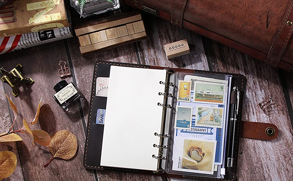 azul 20 bolsas impermeables con cremallera Cuaderno de cuero A6 bolsas de pl/ástico con 6 anillas 40 pegatinas de etiquetas de pl/ástico para carpetas escolares y suministros de oficina