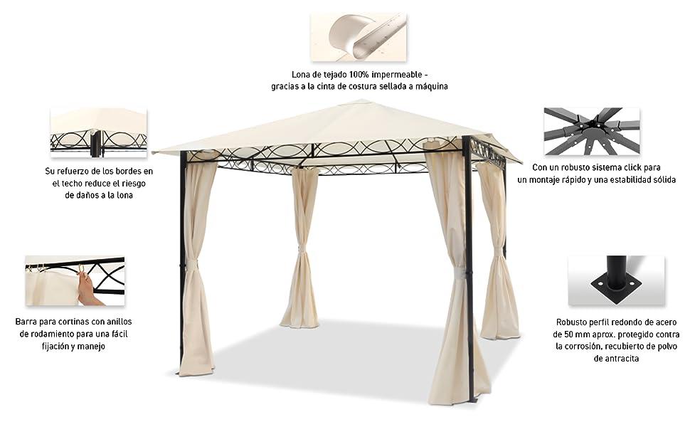 TOOLPORT Cenador de jardín 3x3 m cenador Impermeable con 4 Partes ...