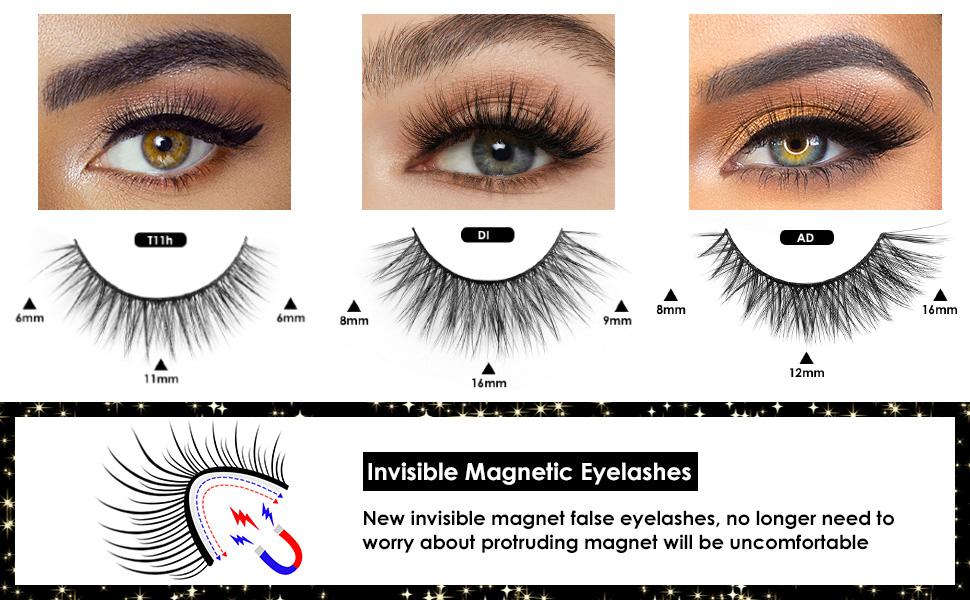 Magnetic Eyelashes with Eyeliner, Invisible Magnetic Lashes Mink Kits False Eyelashes