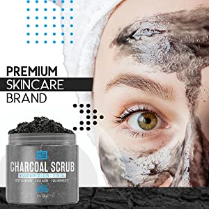 woman wearing charcoal face scrub