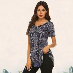 summer tunics for leggings women casual short sleeve shirts paisley button-up blouses maternity tops