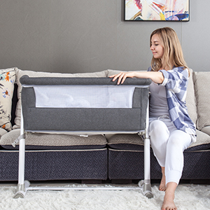 Sofa - Baby Bassinet,RONBEI Bedside Sleeper,Baby Bed To Bed,Babies Crib Bed, Adjustable Portable Bed For Infant/Baby Boy/Baby Girl/Newborn (Dark Grey)