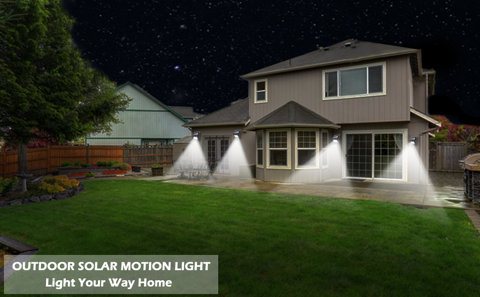 6 Packs Solar Motion Security Lights Wireless IP 65 Waterproof for Garden Fence Patio Garage 64 LED//3 Working Modes OHMU Solar Lights Outdoor,