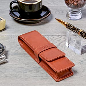 DiLoro Leather Double Two Pen Pencil Case Holder