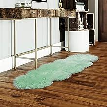 mint green faux fur rug