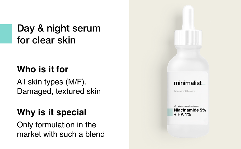 Minimalist Day and Night Serum for clear skin Clean Smooth Soft skin oil Balancing Repairing