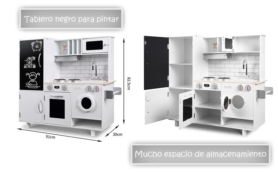 Baby Vivo Cocina de Juguete de Madera Microondas Niños Infantil ...