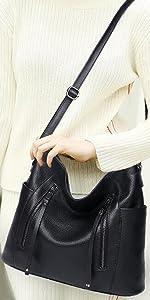 Heshe Womens Leather Handbags Shoulder Bag Cross Body Satchel Ladies Purse