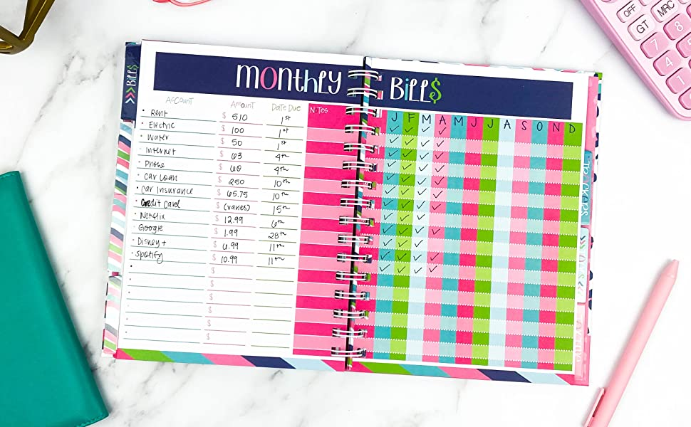 Budget Binder 12-Month Financial Planner with Income, Savings, Expenses, Debt Tracker and Tools