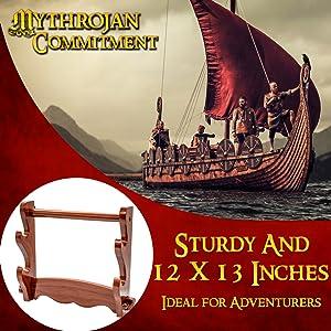 Mythrojan Genuine wood sword stand katana SCA LARP Reenactment collector display stand solid knight