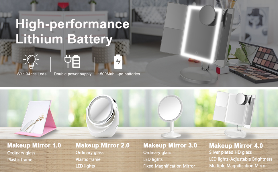 high performance lithium makeup mirror