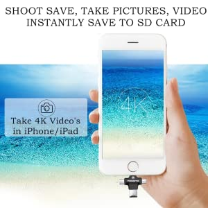 Plug and open iusb pro app and transfer data and record videos click images and save directly iphone