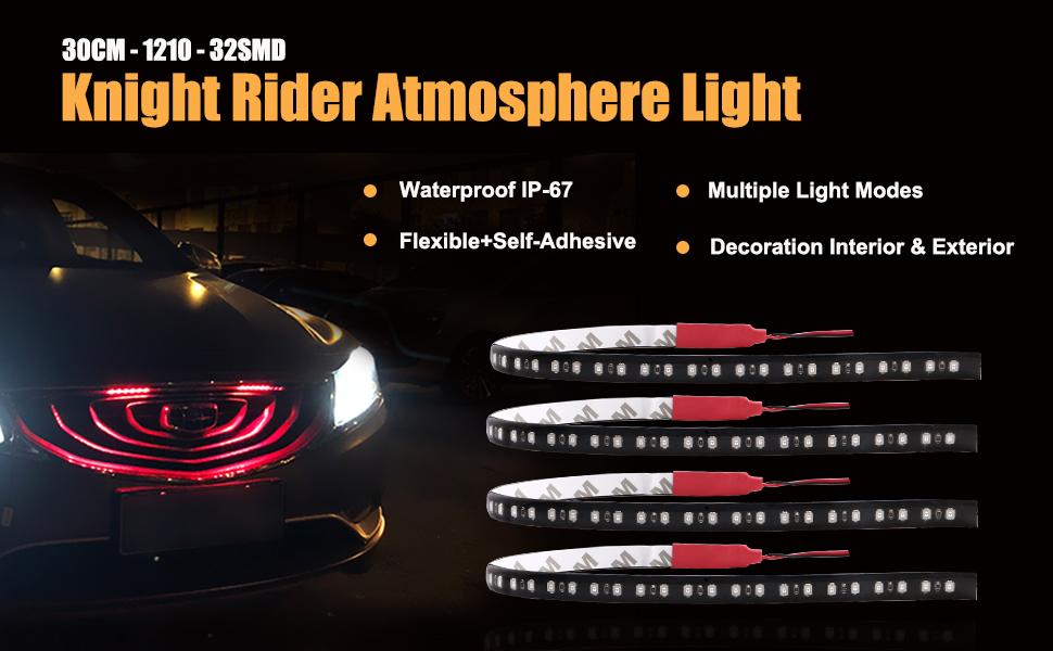 Jaimenalin Knight Rider 32 LED Running Light 30cm Strip Decoration Red Car 12V