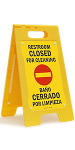 Restroom Closed For Cleaning, Bilingual Folding Floor Sign, High-Impact Plastic