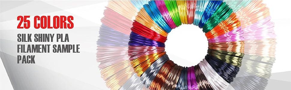 25 colors 3d printer printing pla filament refill sample test
