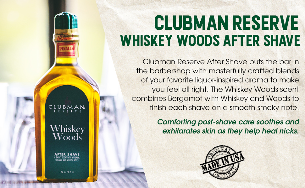 Clubman Reserve Whiskey Woods After Shave Lotion, 6 oz