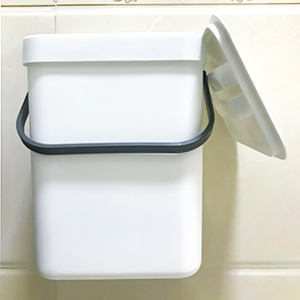 white small trash can