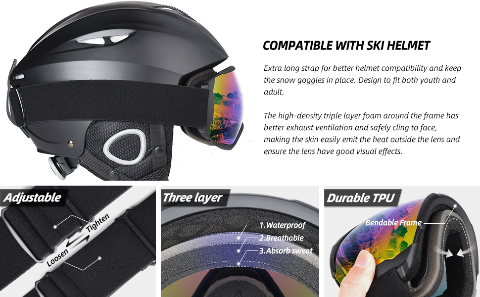 COMPATIBLE WITH SKI HELMET