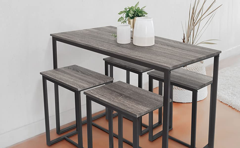 Tufted Chaise Lounge Chair, Amazon Com Zenvida 5 Piece Bistro Pub Table Set With 4 Stools Furniture Decor