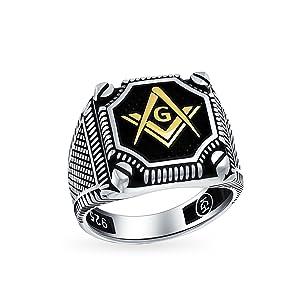 Mens 2 Tone Black Onyx Inlay Compass Freemason Masonic Signet Ring Sterling Silver Gold Plated