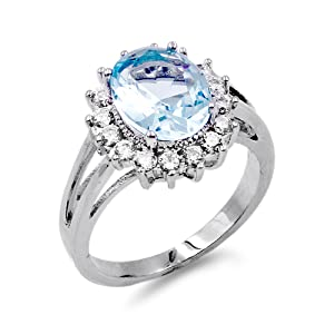Lavencious Oval Shaped w.CZ  Party Rings in Aqua Blue