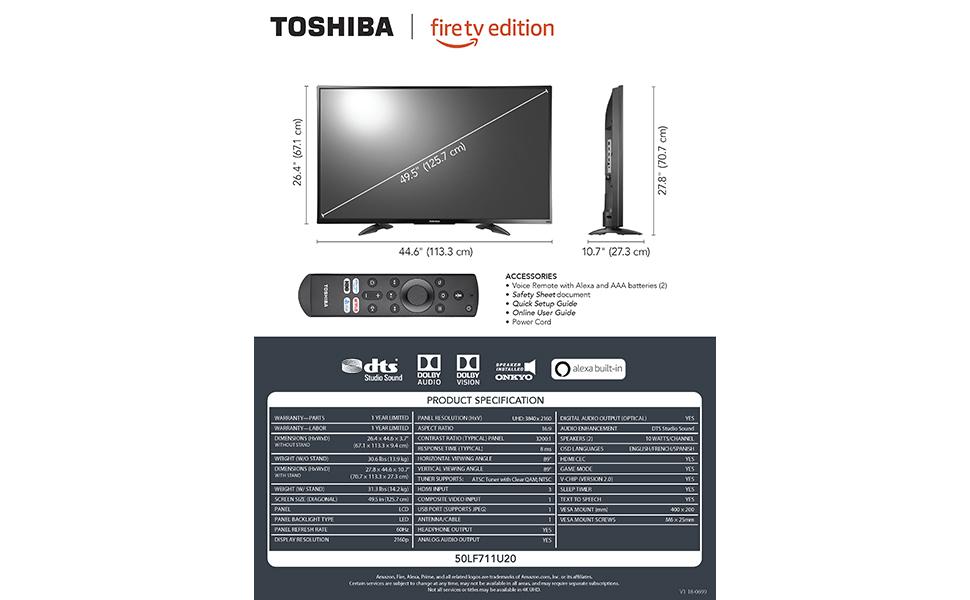 Amazon Com Toshiba 50lf711u20 50 Inch 4k Ultra Hd Smart
