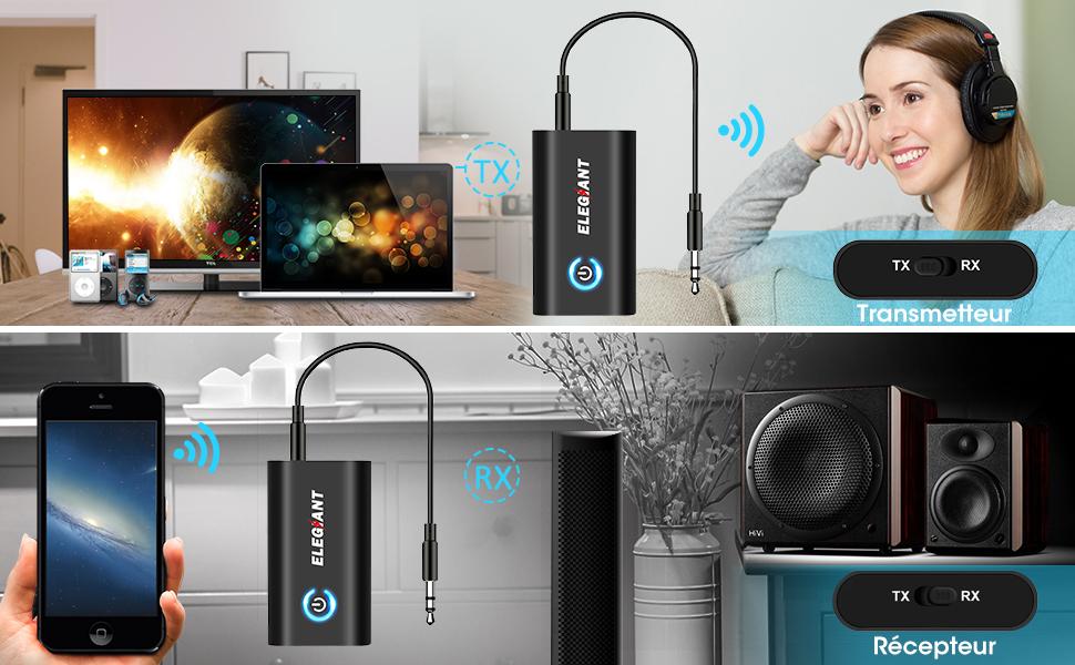 MOSOY Transmetteur Bluetooth 5.0 R/écepteur et /Émetteur 2-en-1 Adaptateur Bluetooth sans Fil Double Connexion Jack 3,5mm Faible Latence pour Casque TV PC